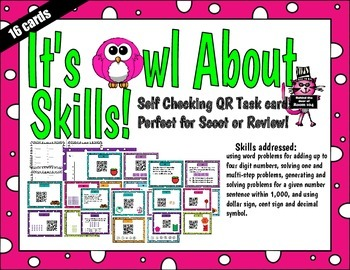 Multiple Math Skills Word Problems QR Task Cards for Scoot