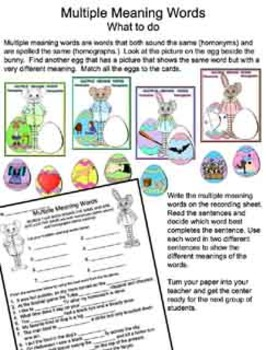 Literacy Center - Multiple Meaning Bunny -  Homonyms/Homographs