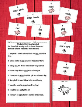 Multiple Meaning / Homograph Common Core Game