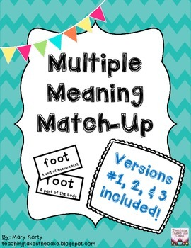 Multiple Meaning Match-Up DISCOUNTED BUNDLED KIT (#1, 2, & 3)