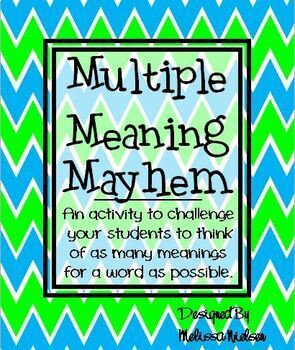 Multiple Meaning Words Reading Center Activity (Common Core Aligned)