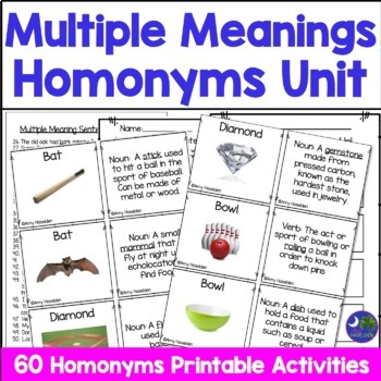 Multiple Meaning Words - Cards with Worksheets Pictures of