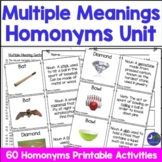 Multiple Meaning Words Cards Pictures Each Homonym Definitions