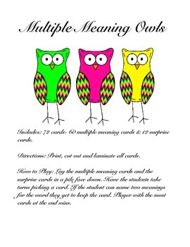 Multiple Meaning Owls