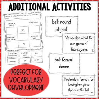 Multiple Meaning Round-Up- Multiple Meaning Words Task Cards