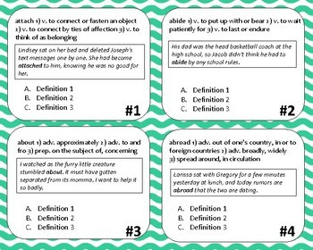 Multiple Meaning Task Cards- Choose Best Definition Middle School English
