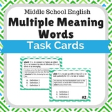 Multiple Meaning Task Cards- Choose Best Definition Middle