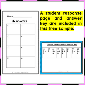 Multiple Meaning Task Cards {Free - First 8 cards}