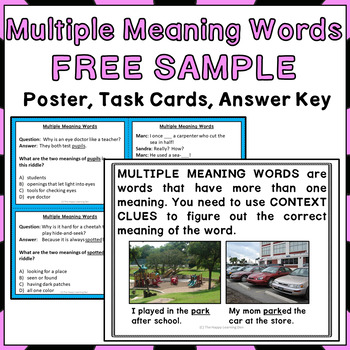 Multiple Meaning Words Activities FREEBIE