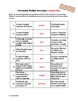 Multiple Meaning Vocabulary - Measurement terms