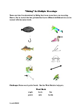 Multiple Meaning Vocabulary - fishing words