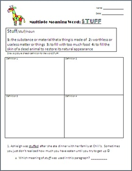 Multiple Meaning Word- BUNDLE