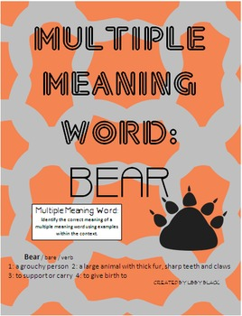 Multiple Meaning Word- Bear