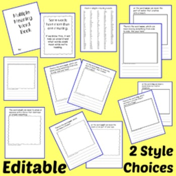 Multiple Meaning Word Book - Editable