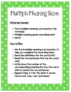 Multiple Meaning Word Center