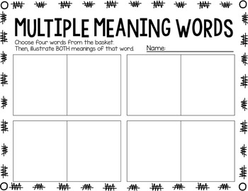 Multiple Meaning Word FREEBIE!