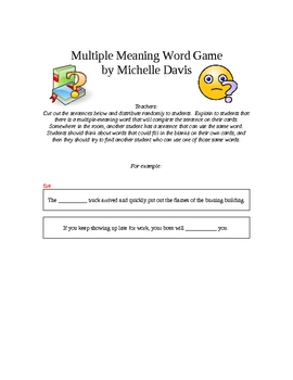 Multiple Meaning Word Game