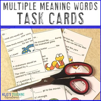 Multiple Meaning Words Task Card Activities - 50 options included!