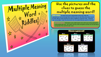 Multiple Meaning Word Riddle Package!