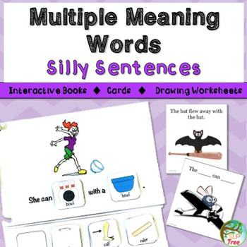 Multiple Meaning Words Silly Sentences: Interactive Books, Cards, and More!