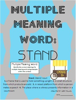 Multiple Meaning Word- Stand