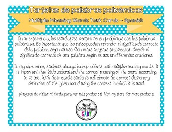 Multiple Meaning Word Task Cards (Palabras polisémicas) - Spanish