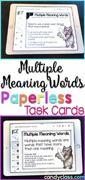 Multiple Meaning Words Task Cards: 2nd Grade Google Classroom Distance Learning