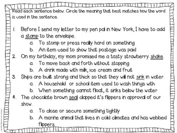Multiple-Meaning Words and Phrases: Using Context Clues