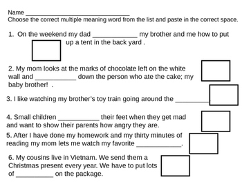 Multiple Meaning Words 12