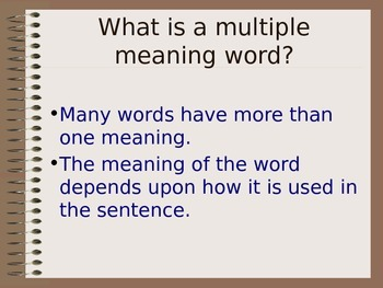 Power point: Multiple Meaning Words