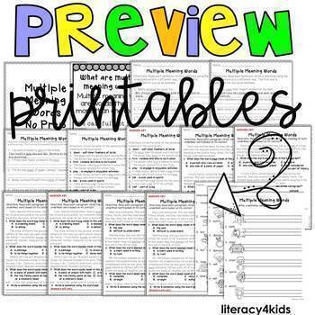 Multiple Meaning Words NO Prep Printables, Task Cards and PowerPoint BUNDLE