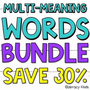 Multiple Meaning Words Worksheets, Task Cards, and PowerPoint BUNDLE
