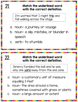multiple meaning words task cards pdf