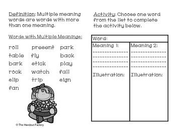 Multiple Meaning Words Poster and Booklet