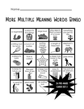 Multiple Meaning Words Bingo