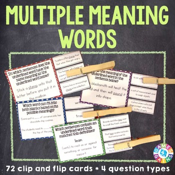 Multiple Meaning Words Activities: 72 Multiple Meaning Words Task Cards