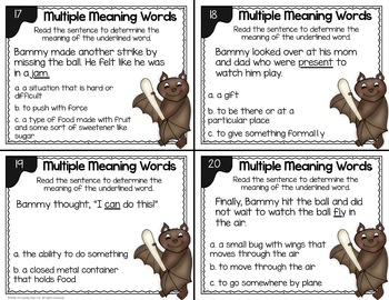 Multiple Meaning Word Task Cards - 2nd Grade Vocabulary Activity
