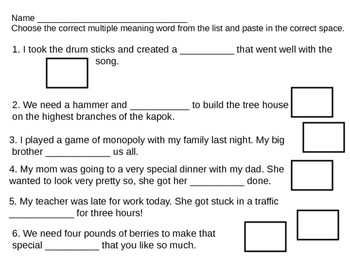 Multiple Meaning Words 8