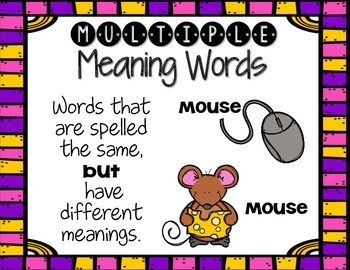 Multiple Meaning Words: A Homonym Booktivity