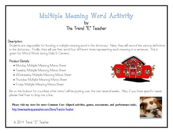 Multiple Meaning Words Activity:  Great for Daily Five