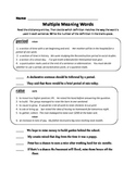 Multiple Meaning Words Assessment