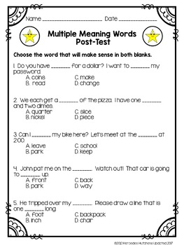 Multiple Meaning Words: Assessments, Games, and Worksheets by ...