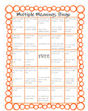 Distance Learning - Multiple Meaning Words Bingo!