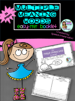 Multiple Meaning Words Booklet Easy Prep draw & write sentences