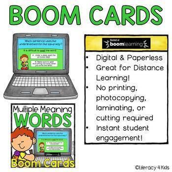 Multiple Meaning Words Boom Cards (Digital Task Cards) for grades 2-3