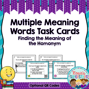 Multiple Meaning Words Bundle: Games, Task Cards With QR Codes and Worksheets