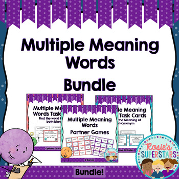 Multiple Meaning Words Bundle: 48 Task Cards With QR Codes