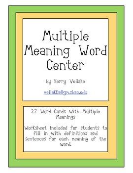 Multiple Meaning Words Center