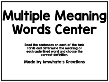 Multiple Meaning Words Center - 28 Task Cards (Printer Friendly)