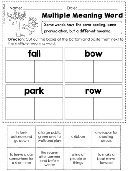 Multiple Meaning Words Common Core Practice Sheets L.1.4.a